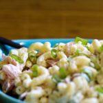 Рыбный салат с макаронами