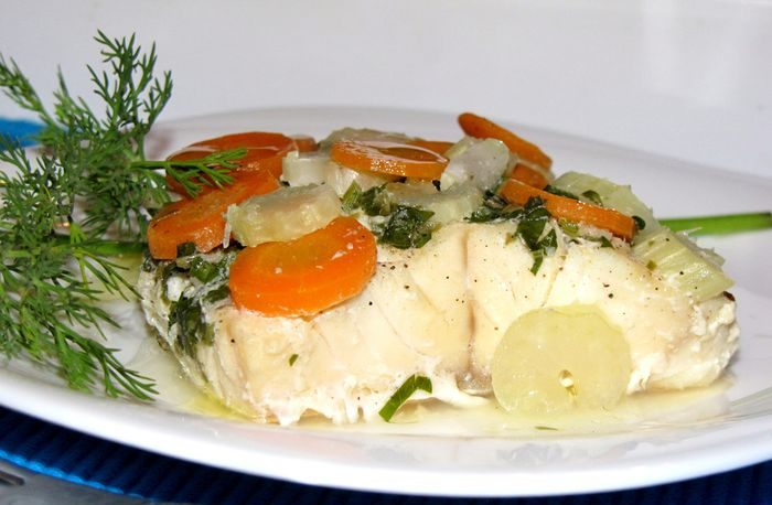 Палтус с овощами